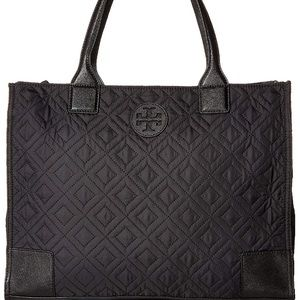 Tory Burch Quilted Nylon Top-Handle Tote Black 💕
